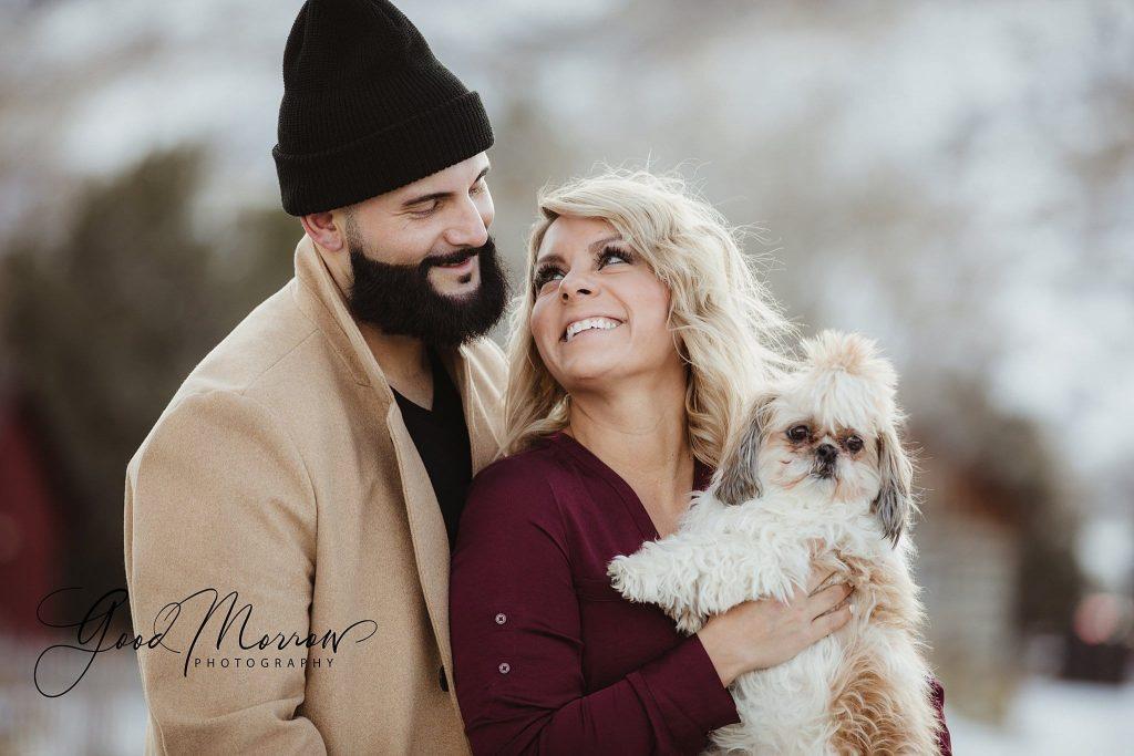 Good Morrow Photography - couple and white dog